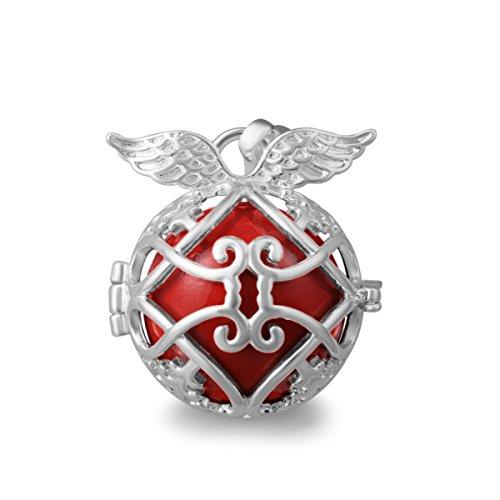 Eudora Boule Maternité femmes bijoux collier pendentif cloche avec Ange–Argent Rouge