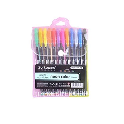 Set de Bolígrafos de Gel Suave Pluma de Tinta con Purpurina Glitter Estudiantes Escribiendo Suministros 12 piezas