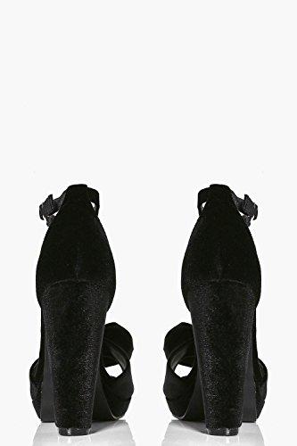 Damen Schwarz Olivia Plateau-sandalen Mit Peeptoe Und Schleife Schwarz