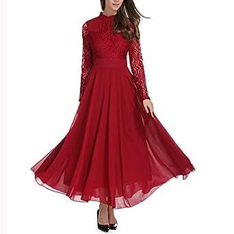 HEHEM Evening Dress Sexy Women Chiffon Formal Evening Party Ball Gown Prom Lace Long Sleeve Dress