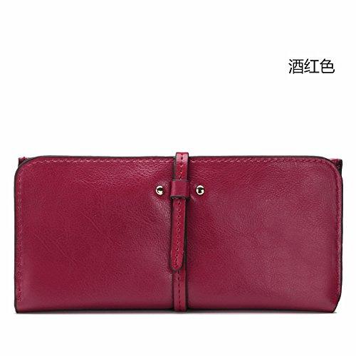 Mefly Neue Damen Leder Handtasche Leder Brieftasche Kapazität Multi Card Wallet Claret