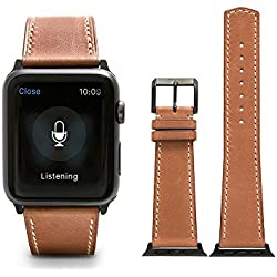 CHIMAERA Geniune Calf Leather Replacement for Apple Watch Strap iWatch & Sport & Edition 42mm Series 1 Series 2 Bracelet Classic Buckle Super Soft Watchstrap (11 Color Option)