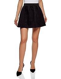 oodji Ultra Mujer Falda de Tejido Texturizado con Cinturón Elástico