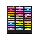 Colgante Carpeta de Archivos Organizador, 30 Bolsillo Pared Vertical Tabla Organizador Color Surtido Archivadores Puerta para la Oficina, Colegio - Negro, free size