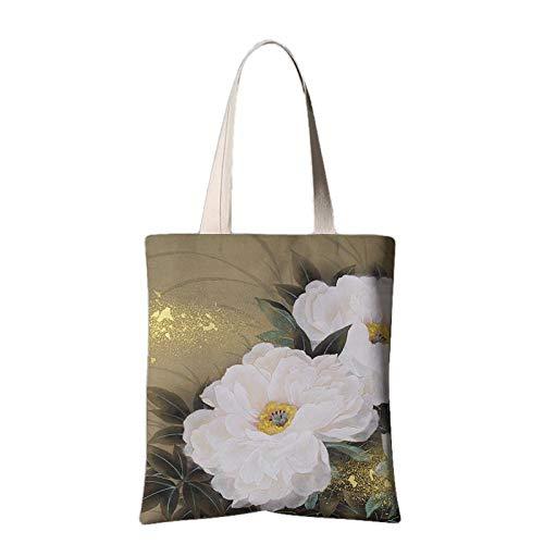 Damenhandtaschen National Wind Gedruckt Tote Casual Strandtaschen Frauen Einkaufstasche Handtaschen Chinesisches Nationales Tintentintenpfingstrosenblumenschulter-Segeltuch-Einkaufstascheweiß