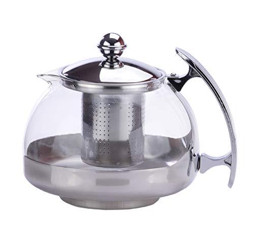 Teiera con coperchio in vetro 1,2liter filtro in acciaio inox tè tè pentola colino