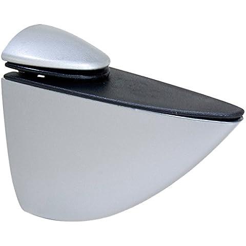 Emuca 4009025 - Lote de 2 soportes mod. Pelicano para estante de madera o cristal de espesor 5-40mm acabado pintado aluminio