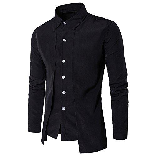 KPILP Hemd Herren Outwear Lässig Luxus Hemd Langarm Umlegekragen Oberteile Formal Business Slim Dress Top(Schwarz,EU-50/CN-M)