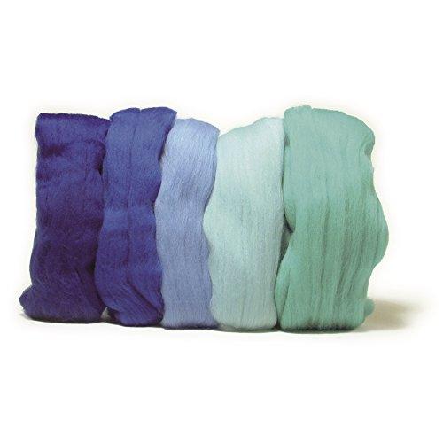 Rayher Hobby 5365100 Filzwolle, Merinowolle, Kammzug, fein, 19 mic, 5 Farben à 10 g, Blautöne, 100% Schafschurwolle zum Filzen, gesamt 50 g, Öko-Tex-Zertifikat (Foto Tex)