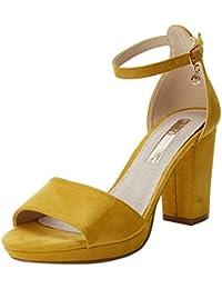 Mujer Tacón Amazon De es Zapatos Amarillo Para KKYq4f