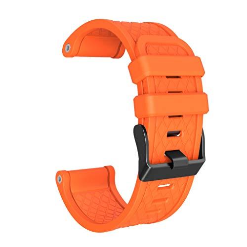 Webla Applicable À Jiaming Plaid Strap Bracelet En Silicone Vis Normale À Boucle Orange Pour Garmin Fenix / Fenix Bande 2 Ajustement Facile, Largeur De 26 Mm Bracelet De Montre En Silicone Souple