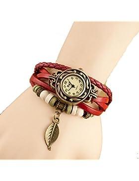 Demarkt Vintage Retro Damenuhr Leder Design Armbanduhr Damenarmbanduhr Spangenuhr Quarzuhren (Rot)