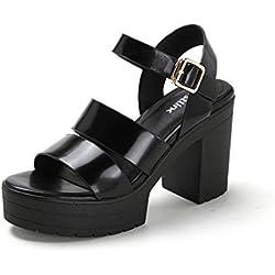 Sommer Leder Open-Toe Schuhe/Dicke Sohlen Plateauschuhe/Klobige Heels Damen Sandalen-Schwarz Fußlänge=22.3CM(8.8Inch)