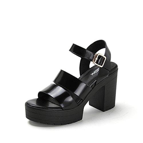 Scarpa spuntata in pelle di estate/Scarpe con la suola spessa piattaforma/Chunky tacchi sandali delle donne Nero