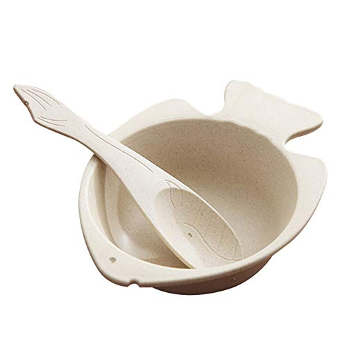 Demarkt Kinder Schüssel Löffel Set Fisch Form Eiscreme Dessertschale Müslischalen Lebensmittel Kunststoff Schalen Salatschale Küchenutensilien Tools Geschenke für Kinders -
