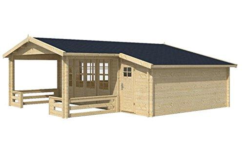 Blockhaus BREGENZ 540 + 154 x 540cm + Veranda Gartenhaus 58mm Holzhaus