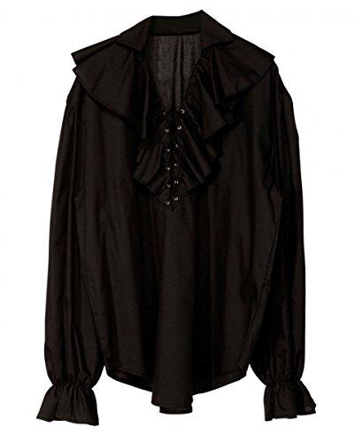 Horror-Shop Schwarzes historisches Rüschenhemd mit Schnürung XL (Disco Tänzer Kostüm Kinder)