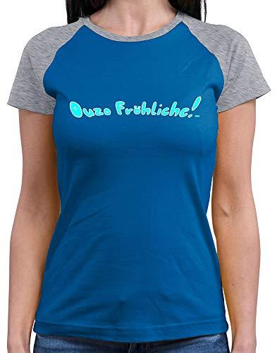 HARIZ  Damen Baseball Shirt Ouzo Fröhliche Weihnachten Weihnachts Familie Liebe Inkl. Geschenk Karte Royal Blue/Grey Melange XL