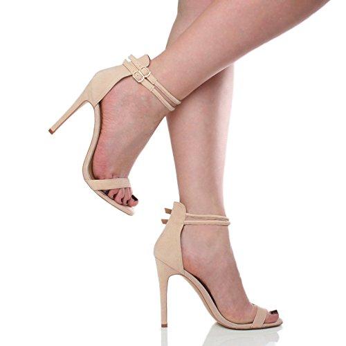Femmes talon haut à peine là cheville lanières boucle fête soirée sandales pointure Nude Beige daim