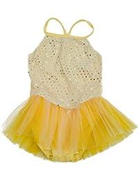 Girla Ballet Dance Dress Gymnastic Sequined Leotard Tutu 5-6 yrs - Yellow