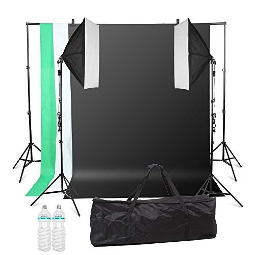 MVPOWER Profi Studio Hintergrundsystem Fotostudio Teleskop Fotoständer Kit inkl. Softbox (Profi Fotostudio Set)