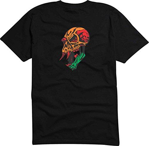 T-Shirt Herren Schädel blutsaugende Schwarz