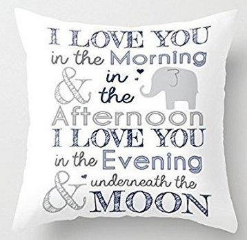 Decorative Pillow Case Elephant Nursery Print Cushion Cove18 x 18