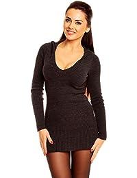 Zeta Ville - Jersey Vestido tipo suéter de punto con capucha - para mujer - 908z
