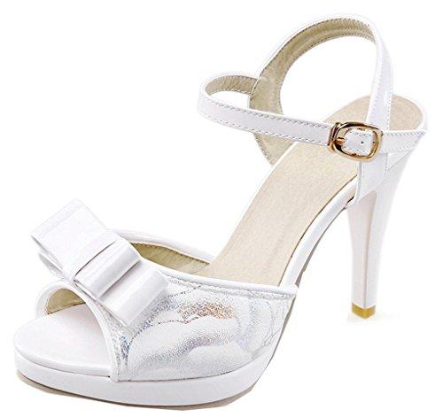 YE Damen Peep Toe High Heels Plateau Stiletto Sandalen Mit Riemchen 10cm Absatz Pumps Sommer Schuhe Mit Schleife Weiß