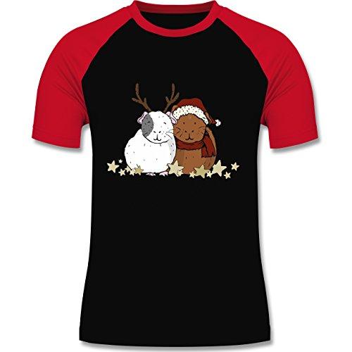 Weihnachten & Silvester - Weihnachtliche Meerschweinchen - zweifarbiges Baseballshirt für Männer Schwarz/Rot