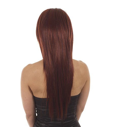 Hair By MissTresses Perruque longue raide Demi Perruque Extensions Guirlande, rouge
