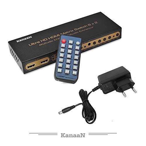 Leicke KanaaN 4K UltraHD HDMI 6×2 Matrix Switch | Fernbedienung | 5.1 Surround SPDIF optisch + Stereo 3.5mm Klinke Audioausgang | ARC und PIP | FullHD, UHD, 4K, 4K*2K kompatibel |HDMI 1.4 Standard - 4