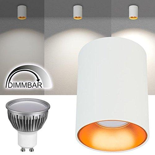 LED Aufbaustrahler Set ITI - Weiß mit Goldreflektor und LED GU10 Markenstrahler von LEDANDO - 5W DIMMBAR - warmweiss - 110° Abstrahlwinkel - schwenkbar - 35W Ersatz - A+ - Aluminium - Aufbauspot