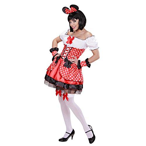 Amakando Mauskostüm Damen Mäuschen Pünktchen Kleid S 34/36 Maus Damenkostüm Minnie Mouse Kostüm Faschingskostüme Frauen Märchen Tierkostüm Verkleidung Disney Mäusekostüm