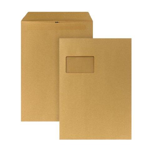 POSTHORN 05270336 Versandtasche mit Fenster, selbstklebend, 250 Stück, C4, 229 x 324 mm, 90 g, braun