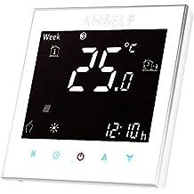 """Anself - 3A 110 ~ 240V Termostato de Calefacción Programable de 7 Días Fexible, Por Calentamiento de Agua, 3,2"""" LCD Pantalla Táctil"""