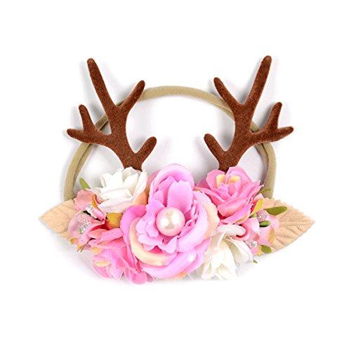 und Urlaub Party Geschenk Weihnachten Stirnband Geweih Weihnachten Stirnband (hellrosa) (Weihnachten Urlaub Kostüme)