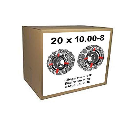 20x10.00-8 Schneeketten + Spanner für Rasentraktor Aufsitzmäher 20 x 10.00-8 und 20x10.00-10 20x10.00-8 (Schneeketten Für Rasentraktor)