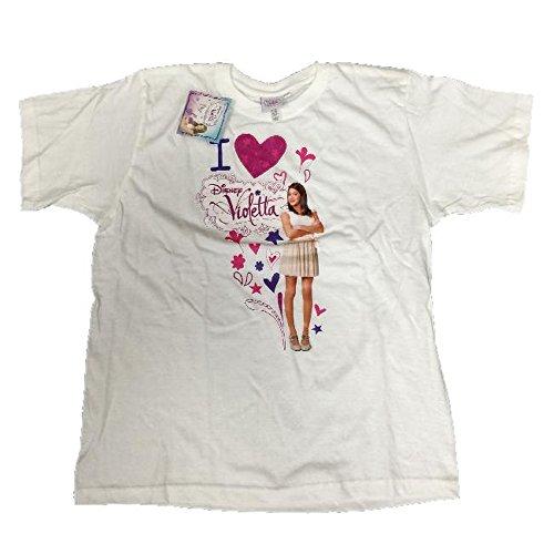 Maglietta bambina violetta, t-shirt maniche corte disney *05449 - bianco 13/14a