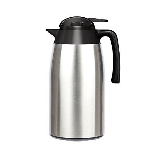 Isolierkanne 2L YIKALU Thermoskannen Edelstahl Kaffeekanne Haushalt thermosflasche 100% dicht (Silber)