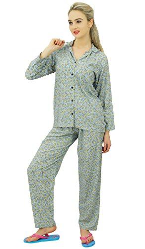Bimba chemise boutonnée avec l'usure des pantalons de pyjama nuit ensemble salon usure chemise de nuit avec un pyjama Gris