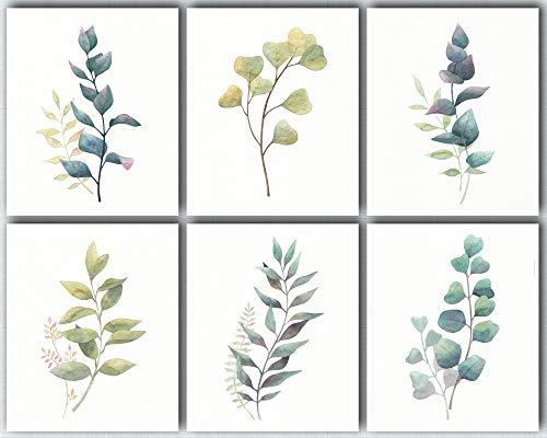 L & O Goods Botanical Wall Art Prints - Landhaus & Küche Dekor - Set mit 6 Plakaten Eukalyptus Blättern Dekorationen - Kunstwerke Bilder für Schlafzimmer, Esszimmer, Flur oder Büro - 8x10 Küche Dekor-set
