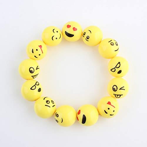 QIANJY Gelbe Emoji Cartoon Lustiges Glückliches Gesicht Armband Niedlichen Schmuck Stretch Elastische Emotionen Armband Armreif Für