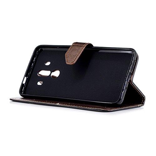 Coque Huawei Mate 10 Pro,Etui Huawei Mate 10 Pro,Surakey Huawei Mate 10 Pro Cuir PU Housse à Rabat Portefeuille Étui Flip Case Folio à Clapet Stand de Fermeture magnétique, Noir+Marron