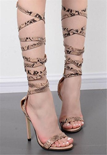 HETAO Persönlichkeit Womens Lace Up Block Mid Heel Ankle Krawatte Wrap Lace Up Strappy Sandale Schuhe, 36 Geschenk Des Mädchens (Spitze Schnalle Nubukleder)