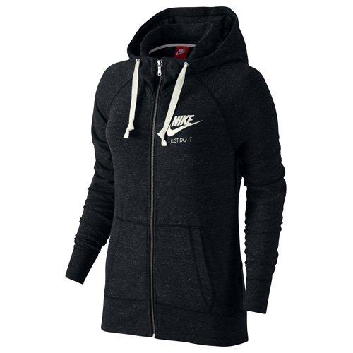 Nike Logo Hoody (Nike W NSW Gym VNTG Damen Sweatshirt Hoodie FZ, schwarz - Schwarz / Segel, S)