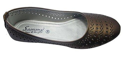 Sammy le style mocassin dérapant sur les chaussures de ballerines femmes ballet chaussures casual Marron foncé