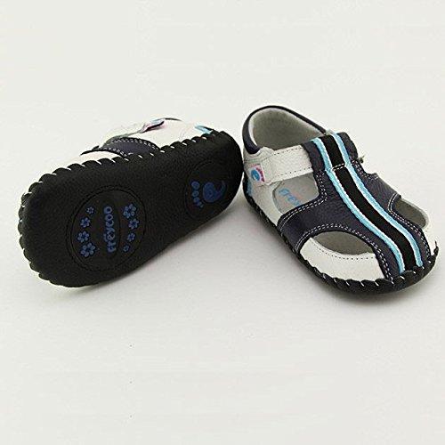 FREYCOO - Scarpine primi passi bimba in morbida pelle | Sandali blu scuro banda nera Blu