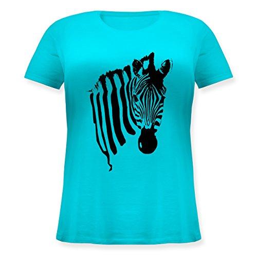 Shirtracer Wildnis - Zebra - Lockeres Damen-Shirt in Großen Größen mit Rundhalsausschnitt Türkis