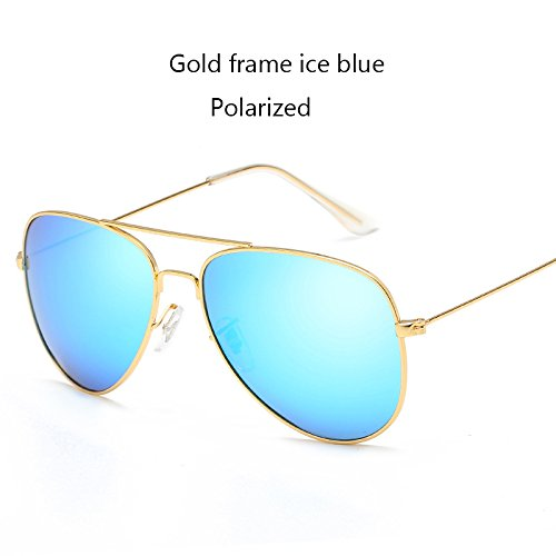 Aprigy Fashion Classic Avaitor polarisierte Sonnenbrille Frauen M?nner Driving Spiegel Pilot Sonnenbrillen Frauen M?nner Marken-Designer Unisex [Gold Ice Blue]
